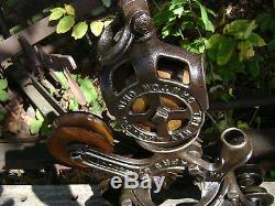 Antique Cast Iron Ney Mfg. Hay Trolley Pat 1887 Barn Farm Pulley Tool Unloader
