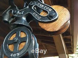 Antique Cast Iron Ney Wood Sheave Hay Trolley Pulley Farm Barn Tool