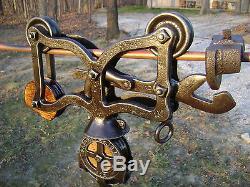 Antique Cast Iron Rare Jacob Ney Hay Trolley Pat 1879 Barn Farm Pulley Tool