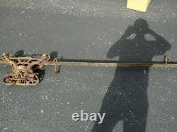Antique F E MYERS Bros hay trolley and rail (trolley model no. H543)