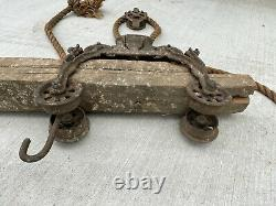 Antique F. E. Myers Hay Trolley Pat. 1884 on 9 Timber Beam Great For Display