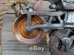 Antique F. E. Myers Original Restored Hay Trolley Rustic Decor Light Wood Wheels