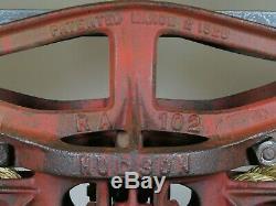 Antique HUDSON HAY TROLLEY vtg. Rustic barn farm carrier DROP PULLEY exc. Cond