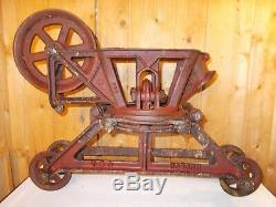 Antique HUDSON Hay Trolley Carrier Unloader Barn Decor with Drop Pulley & Trip