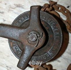 Antique Harrington Differential Hoist Block & Tackle 2 Pulleys 20' Chain
