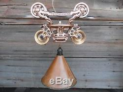 Antique Hay Trolley F. E Myers Hanging Light With Copper Funnel And Track