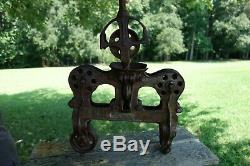 Antique Hay Trolley Pulley Carrier Cast Iron LEADER Steam Punk Vintage