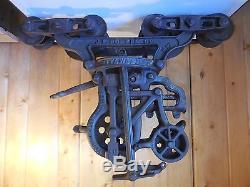 Antique J. E. Porter Pat'd 1895 Unloader Hay Barn Trolley Carrier Cast Iron