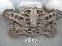 Antique JM Boyd's Stowell Steel Beam Hay Barn Carrier Trolley Milwaukee WI