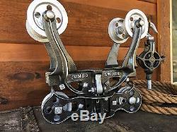 Antique Jumbo Swivel Hay Trolley Pulley Pat'd 1886 Cast Iron Farm Barn Tool