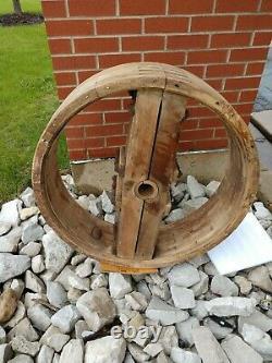 Antique LINE SHAFT WOOD Flat Belt PULLEY 31 WIND WATER STEAM POWER 19th Century