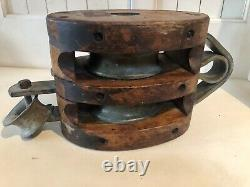 Antique Large Cast Iron/Wood Double Block and Tackle Pulley