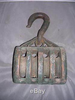 Antique Large Cast Iron & Wood Farm Barn Pulley 4 Rollers 7 Long GREAT