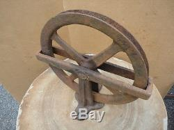 Antique Large Size Industrial Cast Iron Barn Pulley Real Steam Punk Art