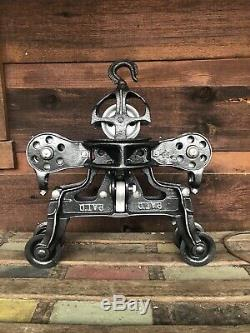 Antique Leader Hay Trolley Pulley Cast Iron Farm Barn Tool