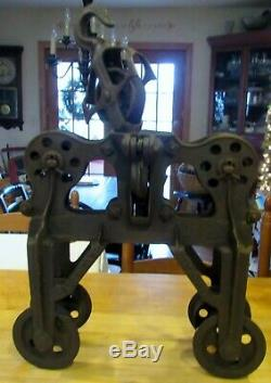 Antique Leader Reversible Hay Trolley/Carrier Pulley Block Cast Iron Farm Tool