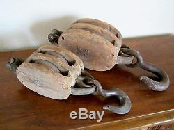 Antique Lot of 2 Large & Heavy, Wood & Iron, BLOCK & TACKLE / DOUBLE PULLEY