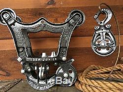 Antique Louden WOOD BEAM Hay Trolley Pulley Cast Iron Farm Barn Tool