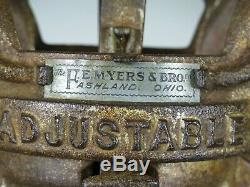 Antique MYERS CLOVER LEAF UNLOADER HAY TROLLEY vtg barn carrier + pulley BIG