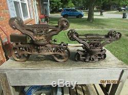 Antique MYERS Cloverleaf Hay Trolleys