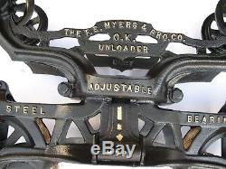 Antique MYERS OK Large Hay Trolley Cast Iron Unloader Excellent LK