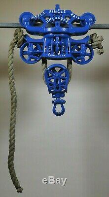 Antique MYERS SINGLE RAIL UNLOADER HAY TROLLEY vtg barn farm hay carrier withROPE
