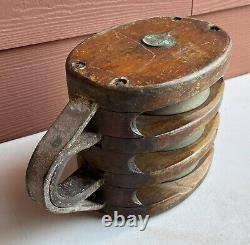 Antique Maritime LARGE 3 Pulley Merriman Brothers Block and Tackle