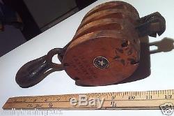 Antique Maritime Ship Triple Block & Tackle Pulley Boston & Lockport Block Co