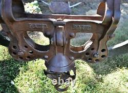 Antique Mono Rail Leader Cast Iron Hay Trolley Carrier Unloader with Drop Pulley