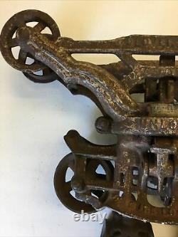 Antique Myers & Bros Cloverleaf Unloader Hay Trolley Leather Label