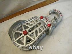 Antique Myers Cast Iron Wheel Drop Pulley Hay Trolley Loft Farm Barn Restored