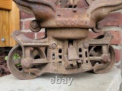 Antique Myers Cloverleaf Hay Trolley Farm Barn Rustic Primitive Decor