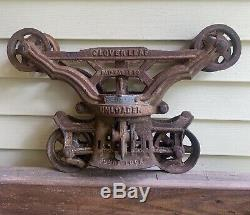 Antique Myers Cloverleaf Unloader Hay Tobacco Trolley Curl Lock Pulley Steampunk