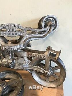Antique Myers Hay Trolley Unloader With Pulley Original Paint NICE