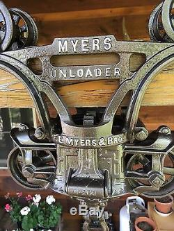 Antique Myers Unloader WOOD BEAM Hay Trolley Pulley Cast Iron Farm Barn Tool