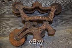 Antique NEY Hay Barn Trolley / Unloader / Carrier with Center Pulley- track