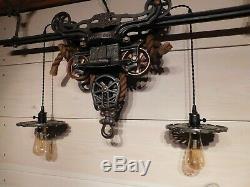 Antique Original F. E. Myers Hay Unloader/trolley Rustic Light Fixture & Track