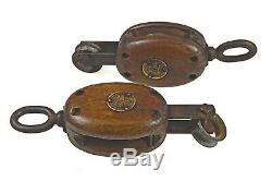Antique Pair of Nautical / Maritime Pulleys, Block and Tackle. Keating, Canada