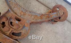 Antique Primitive Cast Iron Hunt Helm & Ferris Hay Trolley Carrier, Drop Pulley