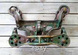 Antique Primitive Cast Iron Leader Hay Trolley Carrier Unloader, Orig Paint