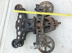 Antique/Primitive F. E. Myers & Bro. O. K. Unloader Cast Iron Hay Trolley, Pulley