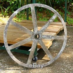Antique Pulley Carrier Metal Wheel 7 spoke LARGE 27 lamp Base Steam sprocket
