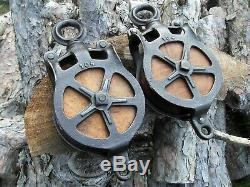 Antique Pulleys Set Of 2 Cast Iron And Wood Barn Farm Rustic Decor Hay Tool