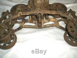 Antique R E MYERS & Bro Cast Iron Hay Trolley Barn Pulley