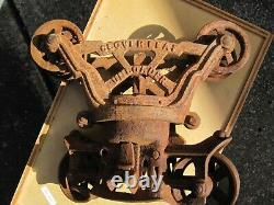 Antique Rusty Cast Iron Meyers Cloverleaf Unloader Hay Trolley