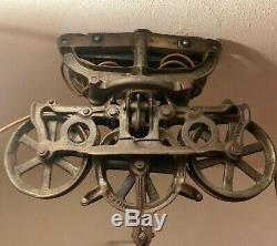 Antique Star Hay Carrier 493A Barn Farm Trolley Pulley CONVERTED Hanging Light