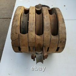 Antique Triple Barn Block & Tackle Wood Pulley Boston Co
