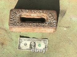 Antique UNION HARDWARE & METAL CO IRON Advertising Base Sign Los Angeles