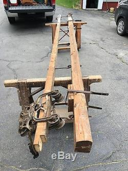 Track Loader For Sale >> Antique Unloader Hay Trolley 14' Wood Track & Beam From Maine Barn