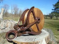 Antique Vintage Cast Iron And Wood Barn Pulley HUDSON Rustic Decor Primitive